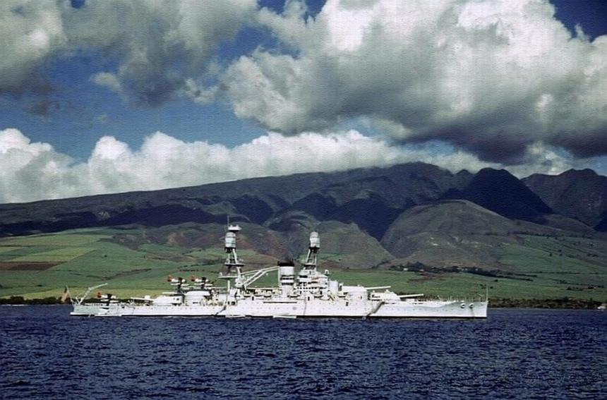 USS Nevada at anchor at Lahaina Roads, Territory of Hawaii, pre-war. Note SOC Seagulls