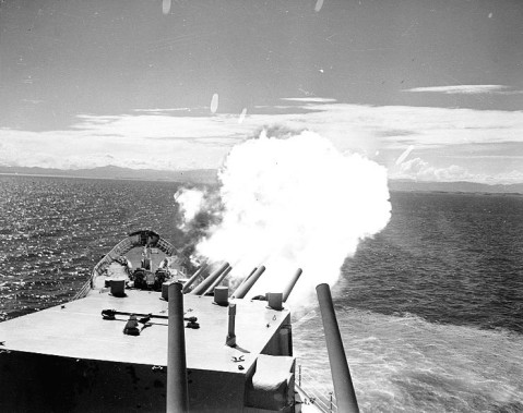 USS Saint Paul bombarding communist positions near Hungnam, South Hamgyong Province, Korea, 26 Jul 1953
