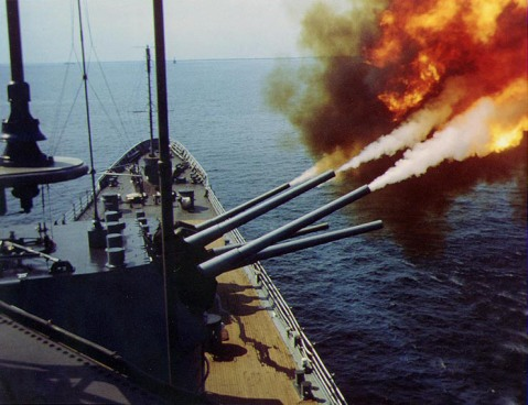 USS Saint Paul bombarding communist positions off Vietnam, Oct 1966