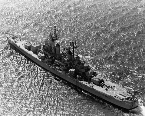 USS Saint Paul (CA-73), a Baltimore-class cruiser note vertrep markings. She swapped her seaplanes for choppers in 1949