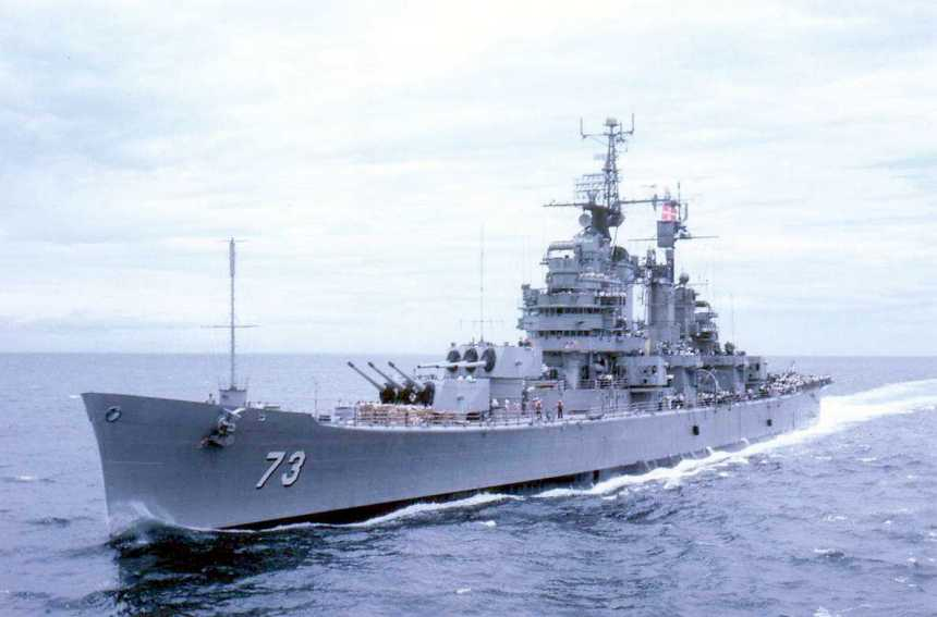 USS Saint Paul (CA-73) approaching USS Boston (CAG-1) off the coast of Vietnam, September 1968. Courtesy of John Jazdzewski.
