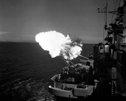USS SAINT PAUL (CA-73) near Wonsan, Korea just before signing of truce at Panmunjon. A 5
