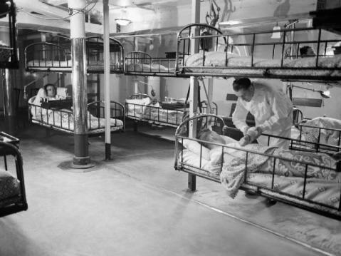 View of the sick bay aboard HMS Rodney, Oct 1940