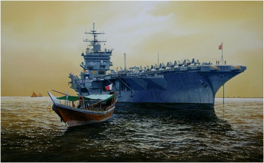 'A Guest of the King' USS Enterprise arrives in Bahrain for a port call. Tom Freeman