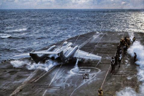 A Sea Vixen launching from HMS Hermes.