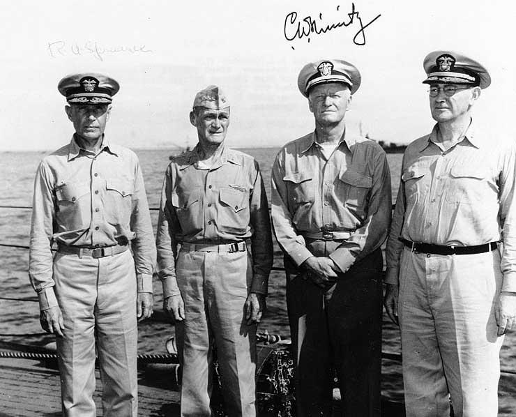 Admirals Spruance, Mitscher, Nimitz, and Lee aboard USS Indianapolis, Feb 1945