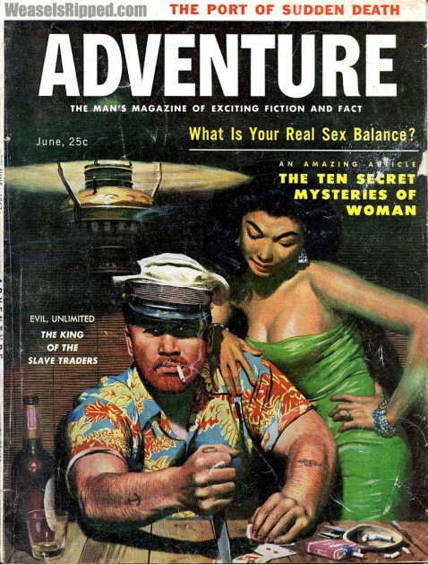 ADVENTURE, June 1957. Cover by Mort Kunstler via weasles ripped