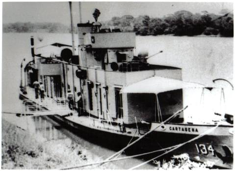 ARC Cartagena river gunboat (Canonero fluvial), commisoned in 1929 and participant in the war against Peru in 1932 decommissioned in 1986
