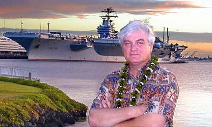 Artist Tom Freeman at Pearl Harbor