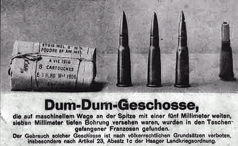 A German newspaper article from WWI showing dumdum or hollow-point rounds captured from French and British prisoners of war.