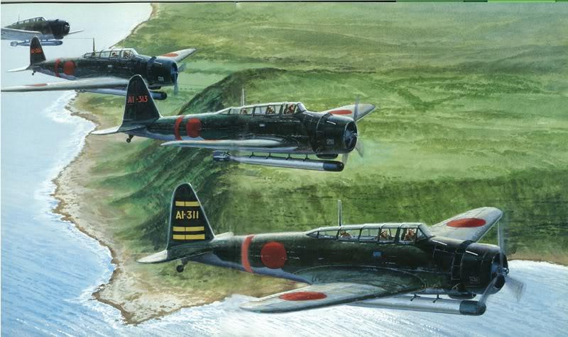 Fuchida's planes cross the coast, by Tom Freeman.