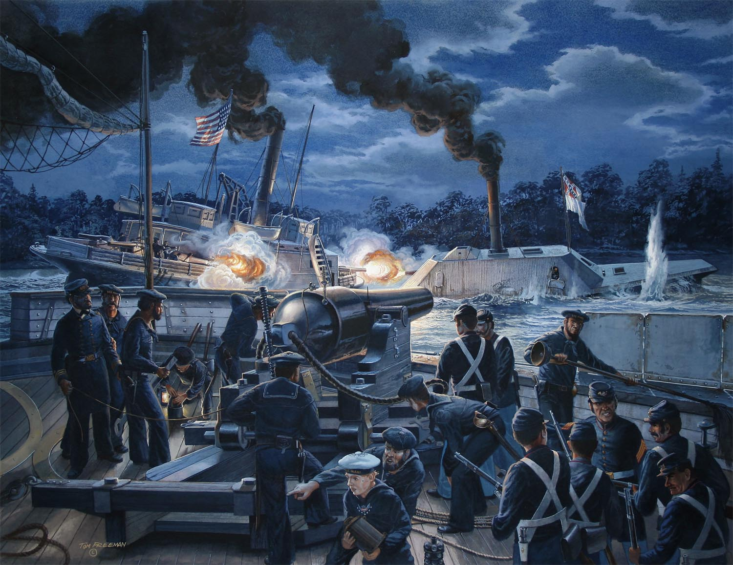 """""""Gunfight on the Roanoke,"""" The gun crew of the U.S.S. Miami witnesses the sinking to the U.S.S. Southfield by the C.S.S. Albemarle, April 19, 1864. Via TomFreemanArt.com"""