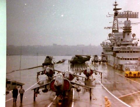 Harrier jump jets on the Deck of HMS Hermes