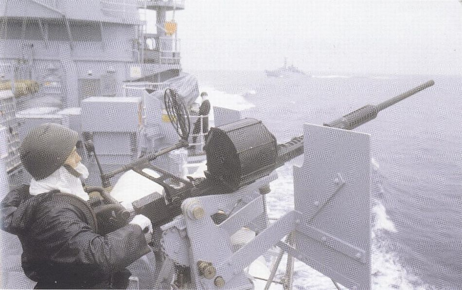 Hermes gunner with a WWII era 20mm in the Falklands