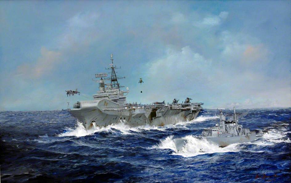 HMS Broadsword with HMS Hermes, Falklands. Official painting by John Alan Hamilton for the MoD. (c) Mrs B.G.S. Hamilton (widow); Supplied by The Public Catalogue Foundation