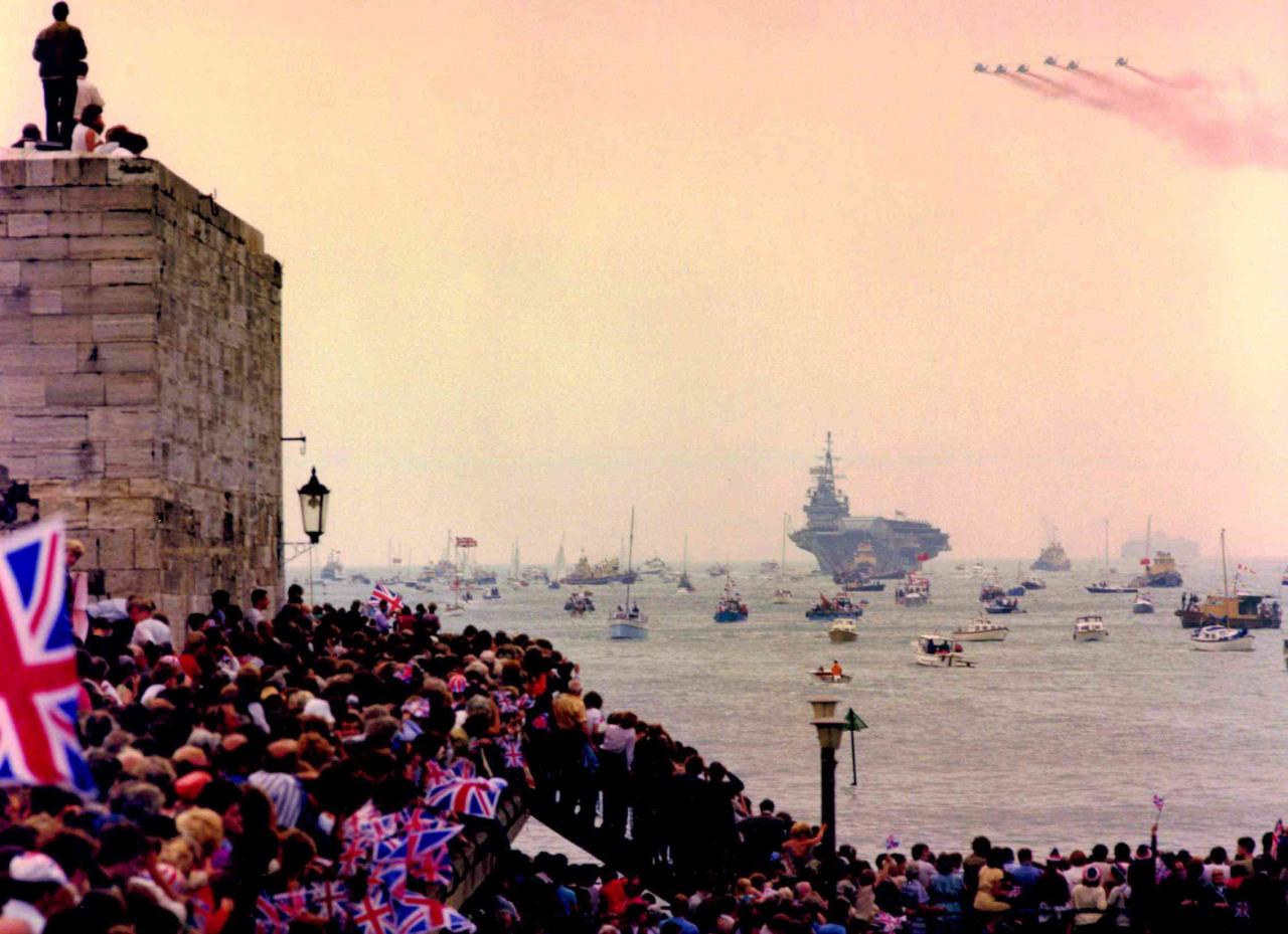 HMS Hermes being welcomed back after the Falklands War,
