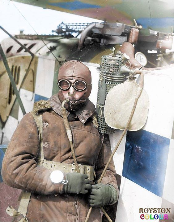 Imperial German Air Service pilot with pipe stem o2 tank