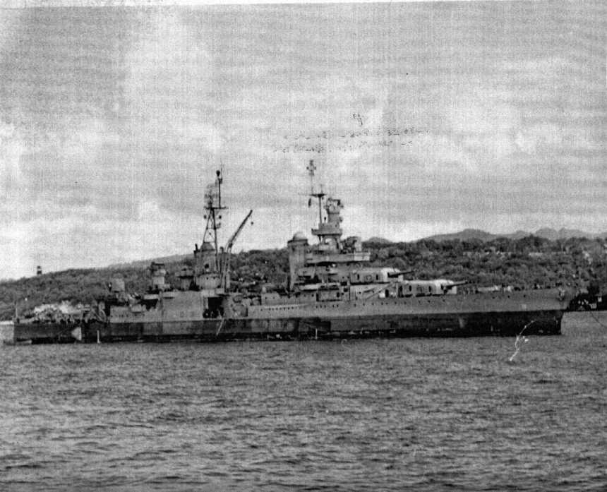 This photo was taken 27 July 1945, the day before she sailed from Guam to her doom, as documented by the ship's photographer of USS Pandemus (ARL 18), on the back of the photo. This is probably the last photo taken of her. Caption on back of photo: