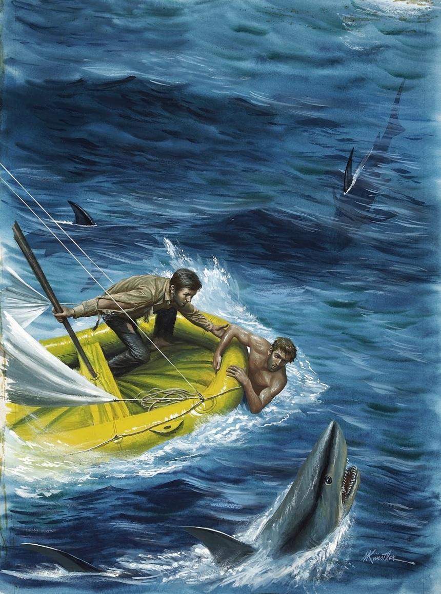 MORT KÜNSTLER (American b. 1931). Shark Attack, Adrift for 43 Days, Male magazine front cover, April 1968