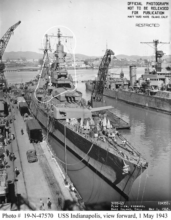 View from off her starboard bow, at the Mare Island Navy Yard, California, following overhaul, 1 May 1943. White outlines mark recent alterations to the ship. Note new forward superstructure, 8
