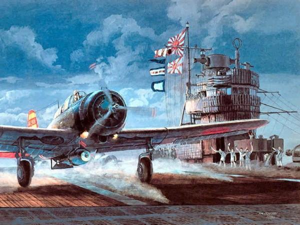 Nakajima B5N2 attack bomber taking off from aircraft carrier Akagi, 7 December 1941. Artwork by Tom Freeman.