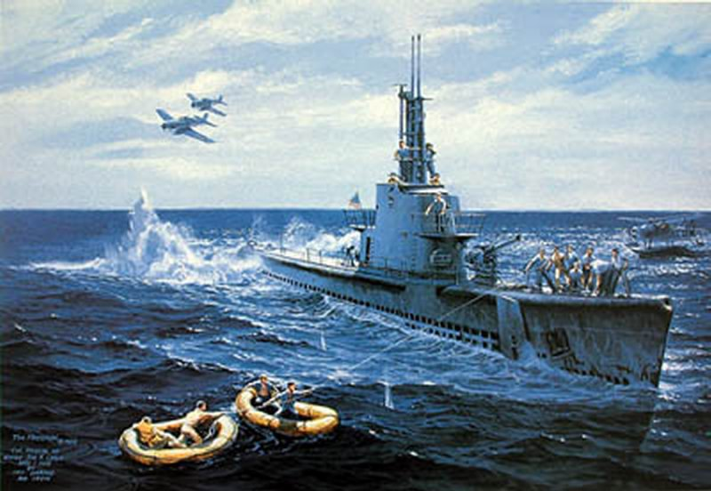 Oil on canvas by the artist Tom Freeman entitled The Harder (SS-257) Rescues Ensign John Gavlin. Date is 1 April 1944. Image via Navsource
