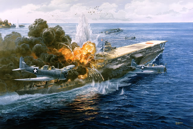 Pawn Takes Castle during Battle of Midway by Tom Freeman (Akagi means red castle)