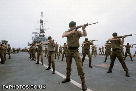 She was modified to carry as many as 800 Royal Marines. Dig those L1A1 SLRs (semi-auto Enfield made FN FALs)