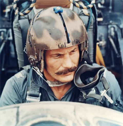 Robin Olds, a triple ace with 16 confirmed kills, four in Vietnam and 12 in the European Theater of WWII. Seen here at the controls of his F4 Phantom, 1966.