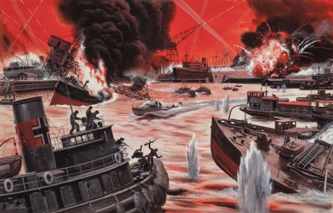 Seal Off the Nazis at Antwerp Harbor, Stag magazine, True Book Bonus story illustration, April 1964 mort