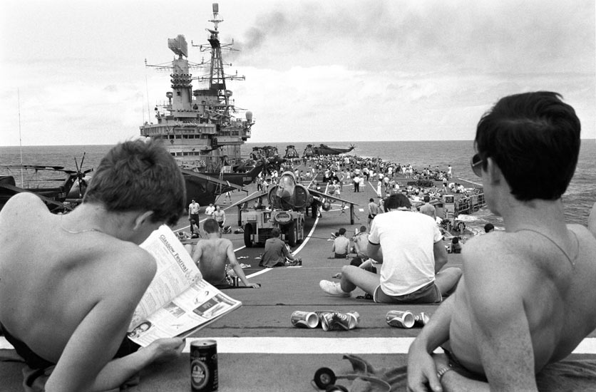 Steel beach party on HMS Hermes note sea harrier and sea king