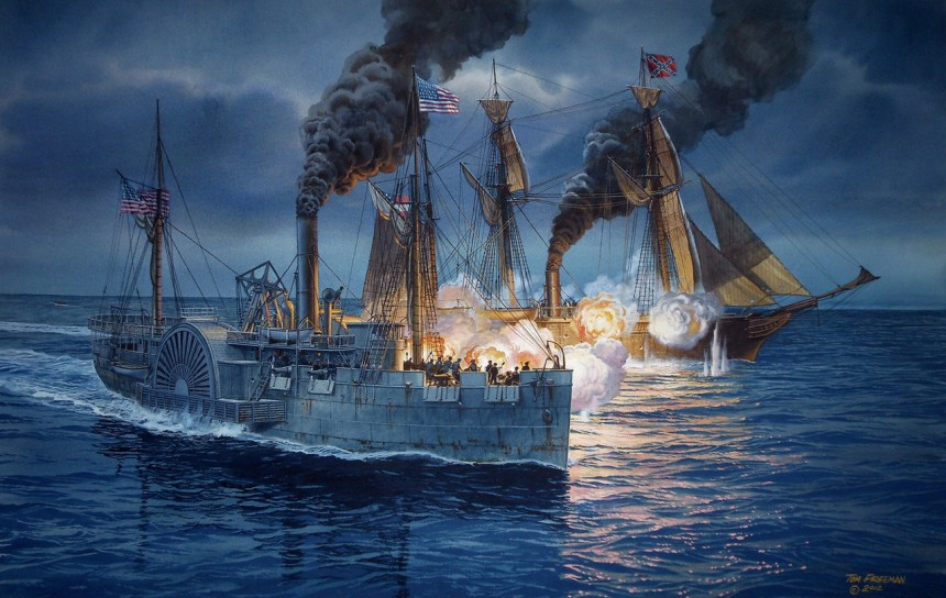 The Fatal Chase by Tom Freeman. The USS Hatteras engages the Confederate raider CSS Alabama. Hatteras was sunk in the ensuing battle