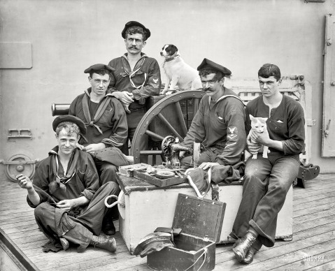 U.S.S. New York circa 1896. Ship's tailor The dog is Nick.
