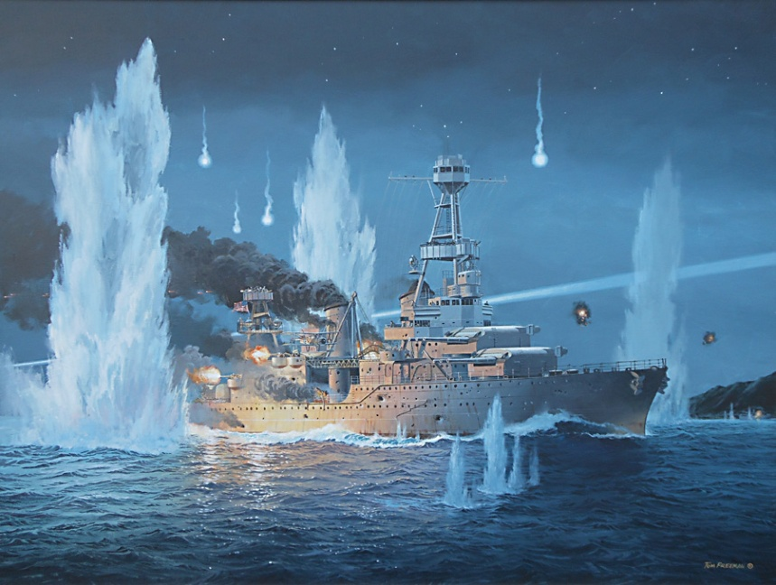 """USS Houston, CA 30 valiantly fights on alone during the night of February 27-28, 1942 against an overwhelming Japanese Naval Force. """"They Sold Their Lives Dearly"""" by Tom Freeman."""