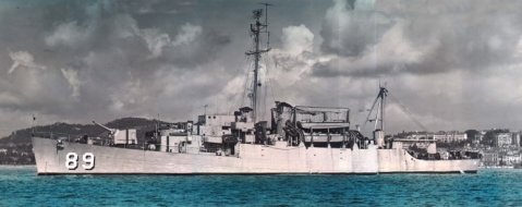 USS Ruchamkin (APD-89) at anchor off Cannes, France, in 1952 during the Cannes Film Festival. Don Karr USS Ruchamkin