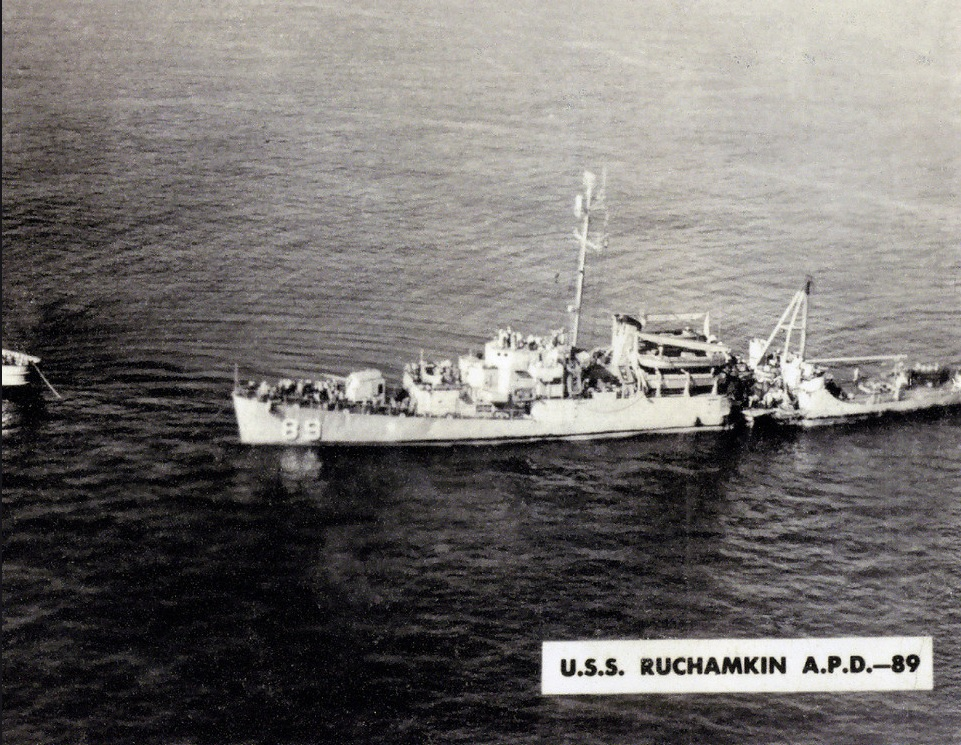 USS RUCHAMKIN APD 8915 November 1952, one day after USS Ruchamkin (APD-89) had been rammed by SS Washington, a 10,000 ton tanker. Note her damage amidships