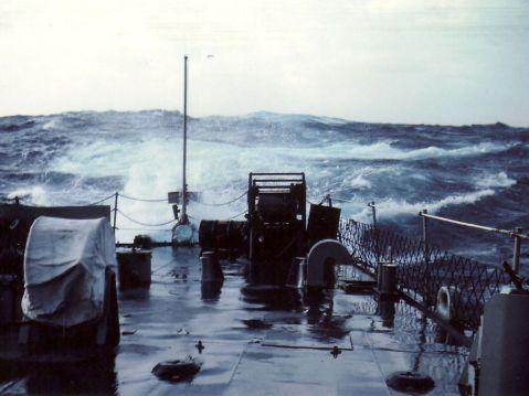 View underway at sea off her stern, Pierside in Charlotte Amalie, St. Thomas, Virgin Islands.