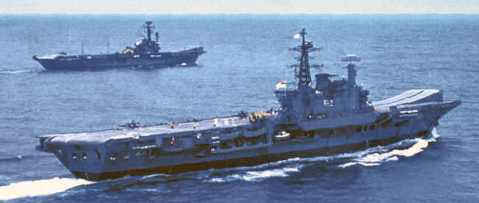 As Viraat, 1990. The other smaller carrier is the former British Colossus-class light carrier HMS Hercules then in service as the INS Vikrant https://laststandonzombieisland.com/2013/12/11/warship-wednesday-december-11-2013-the-indian-step-ahead/