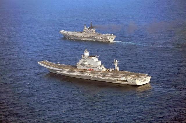Viramaditya' (foreground) and 'Viraat.' Indian Navy photo