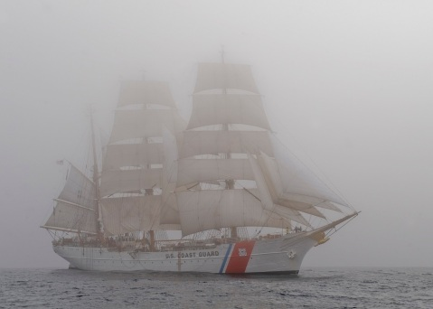 ATLANTIC OCEAN - The Coast Guard Cutter Eagle sails through dense fog, Tuesday, July 17, 2012. The crew of the Eagle take extra safety precautions when sailing through fog, such as sounding the foghorn and standing extra lookouts. U.S. Coast Guard photo by Petty Officer 2nd Class Erik Swanson.