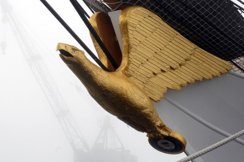 The figurehead of the Coast Guard Cutter Eagle is seen on a foggy Sunday morning at the Coast Guard Yard, Baltimore, Nov. 17, 2013. The Eagle, a 295-foot barque home-ported in New London, Conn., is a training ship used primarily for Coast Guard cadets and officer candidates. (U.S. Coast Guard photo by Petty Officer 3rd Class Lisa Ferdinando)