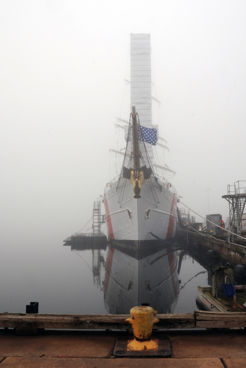 The Coast Guard Cutter Eagle is seen on a foggy Sunday morning at the Coast Guard Yard, Baltimore, Nov. 17, 2013. The Eagle, a 295-foot barque home-ported in New London, Conn., is a training ship used primarily for Coast Guard cadets and officer candidates. (U.S. Coast Guard photo by Petty Officer 3rd Class Lisa Ferdinando)