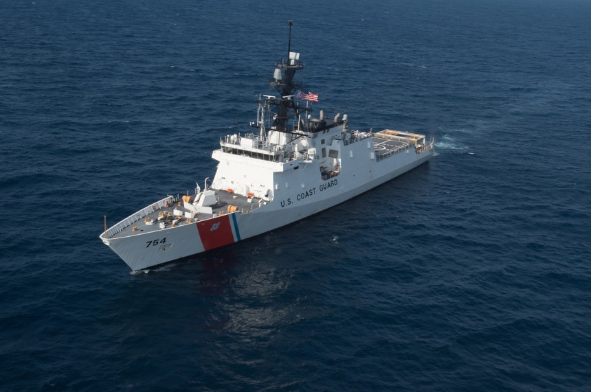 The Coast Guard's latest 418-foot National Security Cutter, James (WSML 754), is underway in the Atlantic Ocean, Thursday, July 30, 2015. The James is the fifth of eight planned National Security Cutters – the largest and most technologically advanced class of cutters in the Coast Guard's fleet. The cutters' design provides better sea-keeping, higher sustained transit speeds, greater endurance and range, and the ability to launch and recover small boats from astern, as well as aviation support facilities and a flight deck for helicopters and unmanned aerial vehicles. (U.S. Coast Guard photo by Auxiliarist David Lau)