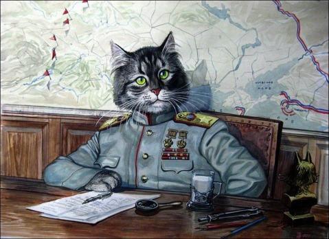 A very Marshal Zhukov like comrade cat at his desk. Note the 100 dog kills medal