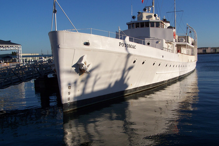 Ex-USS Potomac (AG-25) moored at her berth, the FDR pier, at Jack London Square, Oakland, CA. in 2008. Photos by Al Riel USS John Rogers.Via Navsource