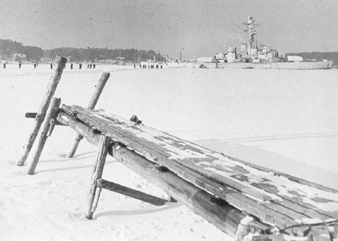 Finnish coastal defense ship Ilmarinen anchored at Turku harbor, Finland, 10 Mar 1940