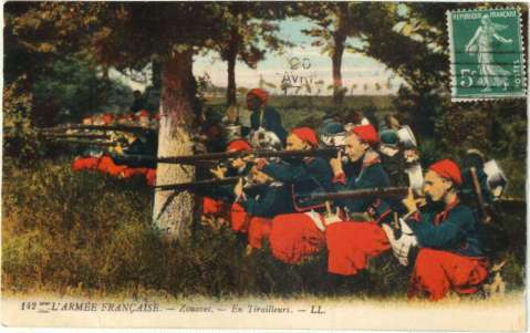 French Zouaves during the early days of WW1 postcard