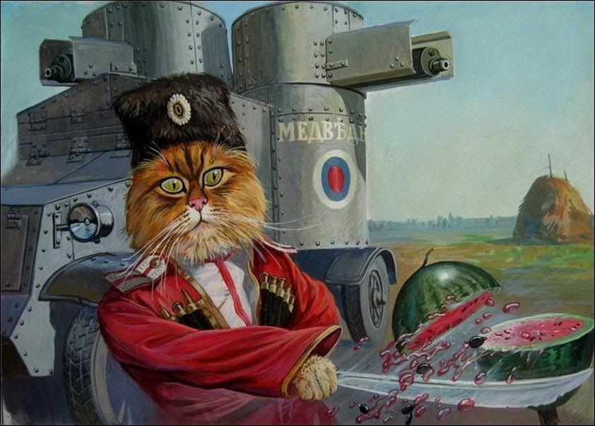Tsarist Cossack of the Imperial Konvoy cat with his cavlary shaska on ... Patriotic Cats