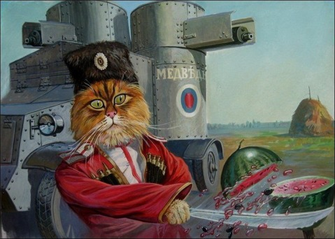 Tsarist Cossack of the Imperial Konvoy cat with his cavlary shaska on watermelon practise. Note the Austin-Putilov armoured car in the background with its distinctive twin Maxim turrets. Of the 250~ Austins built during WWI, just 33 were Russian made Pulitov models but both kinds were used in against both the Germans and in the famed Armored Car unit in Petrograd during the Revolution, mentioned several times in John Reed's 10 Days That Shook the World.