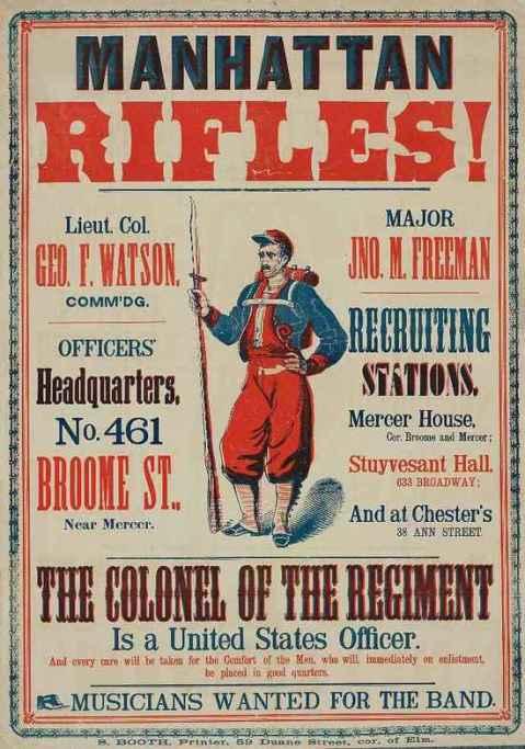 Manhattan Rifles recruiting poster, 1862